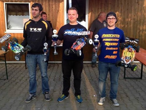 Patrick Hofer on podium at qualification run for 1/8 Nitro Buggy German Nats